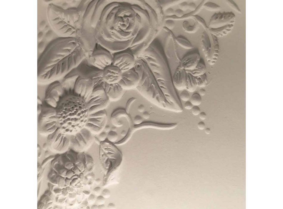 Aplikacion muri në dizajn qeramik të bardhë mat me lule dekorative - Fluxo