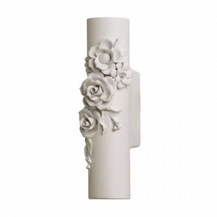 Sconce Wall në Qeramikë të Bardhë Matt me Lule Dekorative - Revolucioni