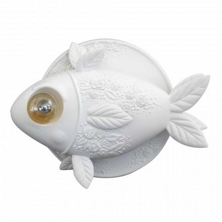 Sconce Wall në Dizajn Qeramike të Bardhë Matt me Peshq të Dekoruar - Peshk