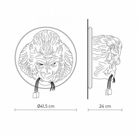 3 Dritat Llambë Muri në Gorilla Ceramic Grey ose White Design - Rillago