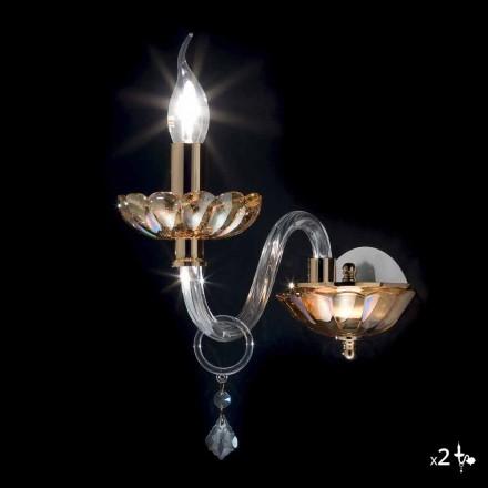 Sconce muraturë projektuesi i bërë nga kristali dhe qelqi Belle, grup prej 2 copash