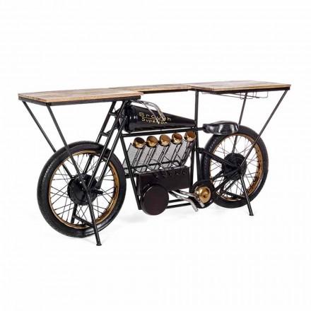 Dizajn Modern Console Bar në Mango Druri dhe Çeliku Motor - Shallot