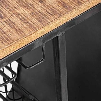 Bar Konsolë në Mango Wood dhe Vespa in Steel of Modern Design - Shallot