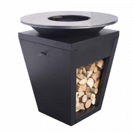 Barbecue me djegie druri me pjatë gatimi dhe ndarje mbajtëse druri - Ferran