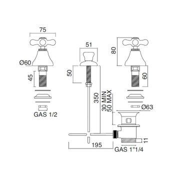 Bidet Bateria 3 Vrima Kullon Dorëzimin e Brendshëm Tunxh i punuar me dorë - Ercolina