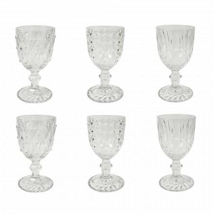 Kupë në gotë transparente me dekor lehtësues 12 copë - zemërime