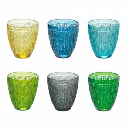 Gota me ngjyra qelqi me ujë me dekorimin e gjetheve, 12 copë - Indonezi