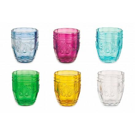 Syzet me ngjyra dhe elegante në shërbimin e qelqit të 6 copave për ujë - Vidhë