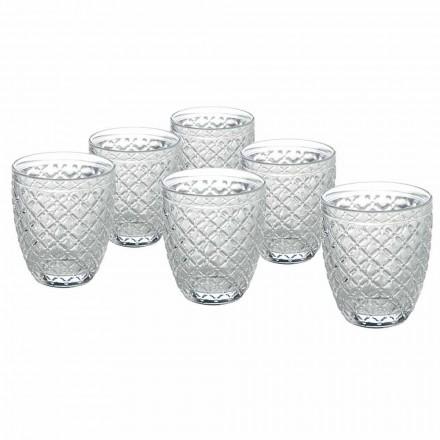 Gota transparente të ujit me xham me dekore të gdhendura 12 copë - Rocca