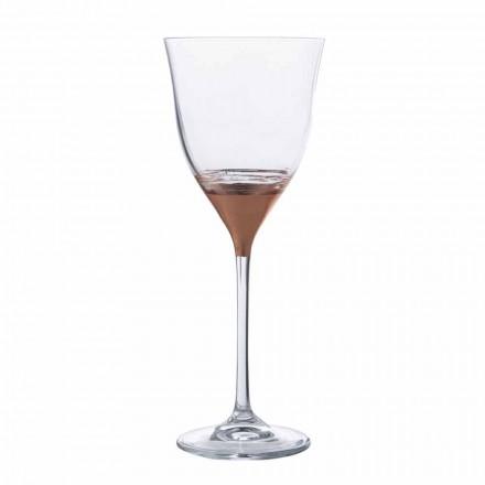 Gurë me ujë kristali me dekor prej bronzi, ari ose platin 12 copë - Soffio