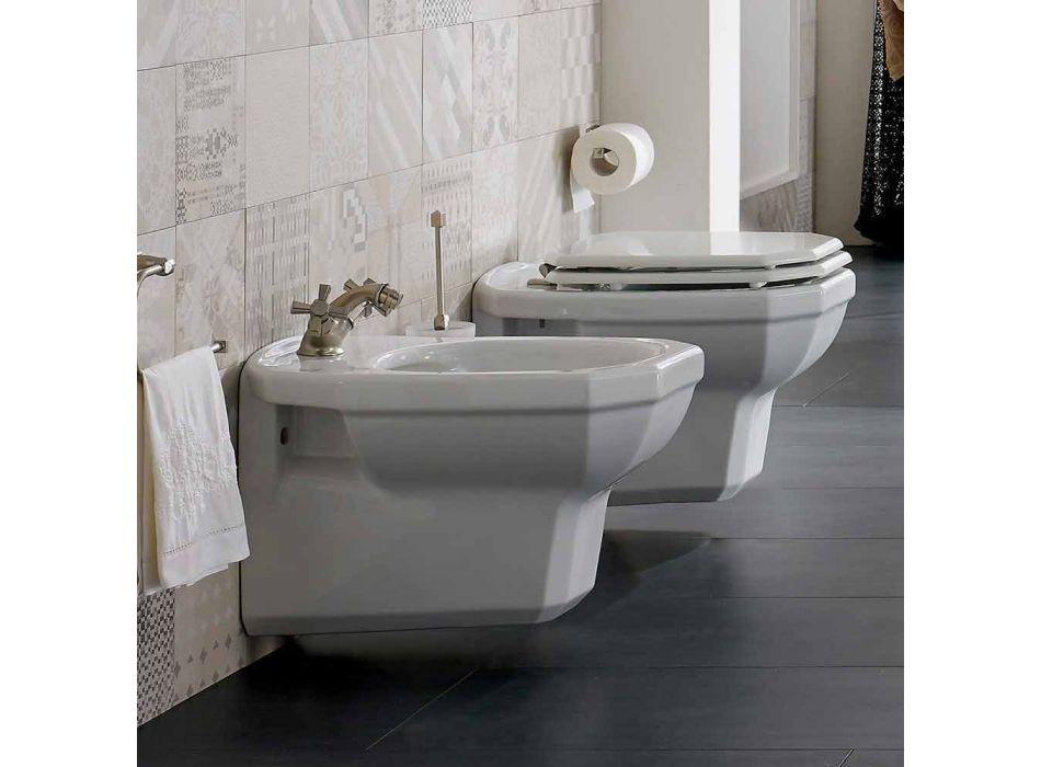 Bidet i varur në mur të bardhë qeramike të stilit të cilësisë së mirë, prodhuar në Itali - Nausica