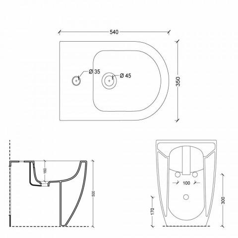 Bidet qeramik i dizajnit modern Shine Square Open Rimless H50 cm