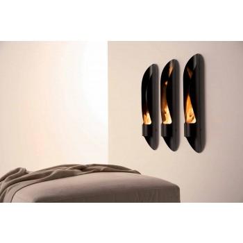 Bio-fireplace me mur me tuba dhe dizajn modern në çelik të zi - Jackson