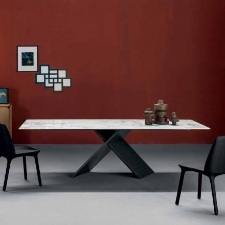 Tavolinë ngrënie Bonaldo Ax me bazën metalike dhe maja qeramike, e bërë në Itali
