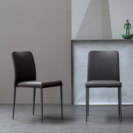 Karrige dizenjimi Bonaldo Deli me sedilje lëkure të veshur me susta prodhuar në Itali