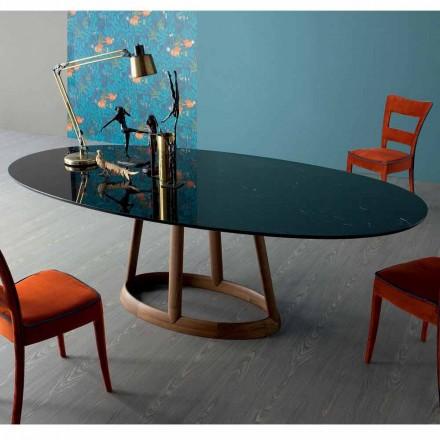 Tavolina ngrënie ovale Bonaldo Greeny, majë mermeri Marquinia, e bërë në Itali