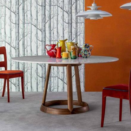 Tavolinë e rrumbullakët Bonaldo Greeny me majë mermeri Calacatta, e bërë në Itali