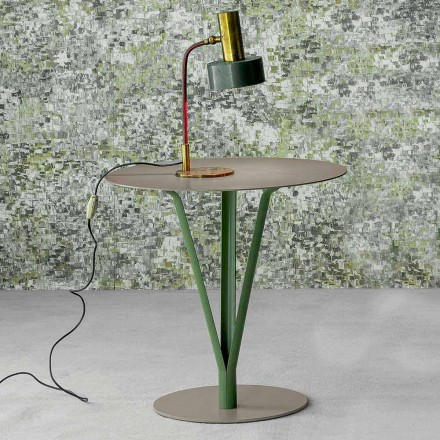 Bonaldo Kadou pikturoi tryezën anësore të çelikut Ø 50 cm, e bërë në Itali