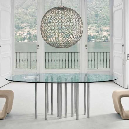 Tabela e rrumbullakët e Bonaldo Mille, kristal dhe çeliku i kromuar, i bërë në Itali