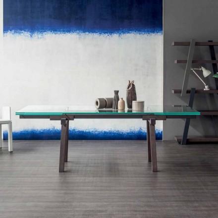 Tabela e shtrirjes Bonaldo, tavolinë kristal ekstra-e pastër e bërë në Itali