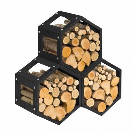 Mbajtës modular druri për dizajn modern të brendshëm në çelik të zi - gjashtëkëndor