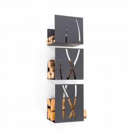 Mbajtës i drurit të zjarrit të montuar në dizajn modern në copa të zeza prej çeliku 3 - Garigliano