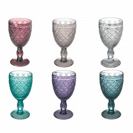Verë ose gotë uji në gotë me ngjyrë ose transparente me zbukurime, 12 copë - Rocca