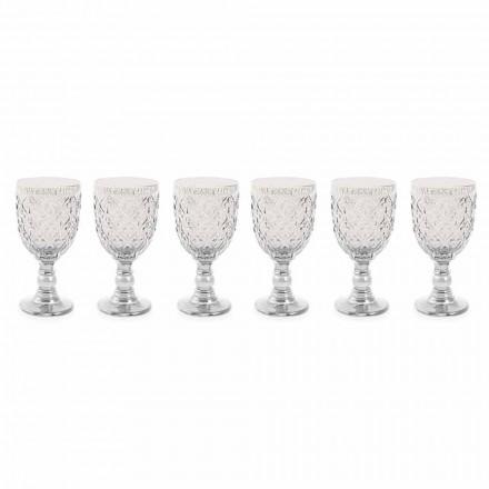 Gota vere qelqi transparente me dekor Arabesque 12 copë - Marok