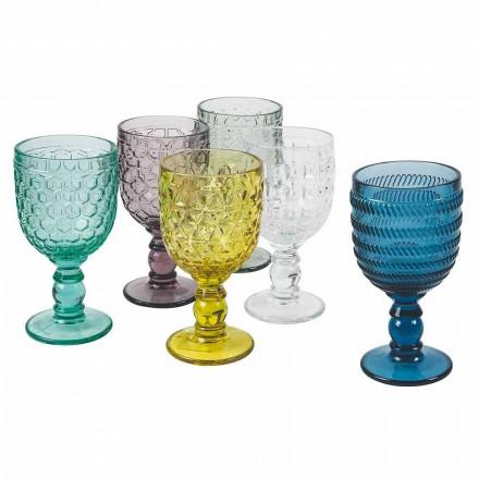 Gota me ngjyra të dekoruara me gota uji ose verë Shërbimi 12 copë - Përzierje