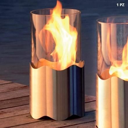 Tabelë fireplace bioethanol bërë nga çeliku inox dhe qelqi Leon