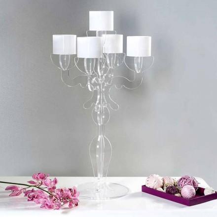 Ri-vlerësoni mbajtësin e qirinjve me një dizajn të vogël, 5 krahë në pleksiglas, Nulvi