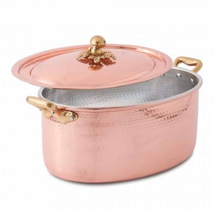 Tavë bakri e konservuar me dorë ovale për furrë dhe kapak 37x26 cm - Mariag