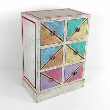Sirtarët prej druri të punuar me dorë me sirtarë me ngjyra të prodhuara në Itali - Brighella