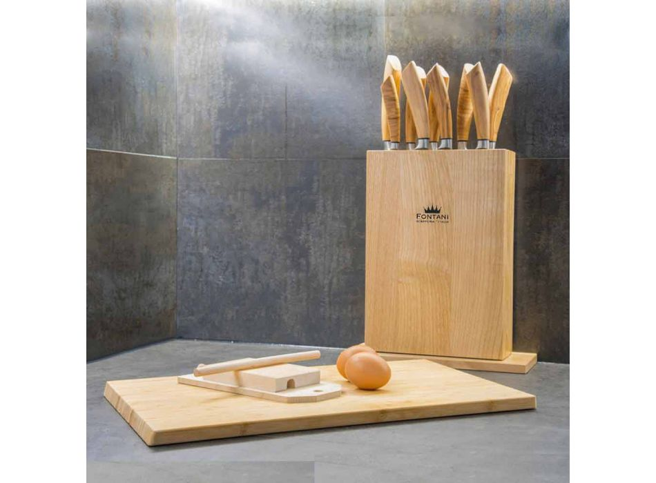 Bllok magnetik në dru me 9 thika kuzhine prodhuar në Itali - Bllok
