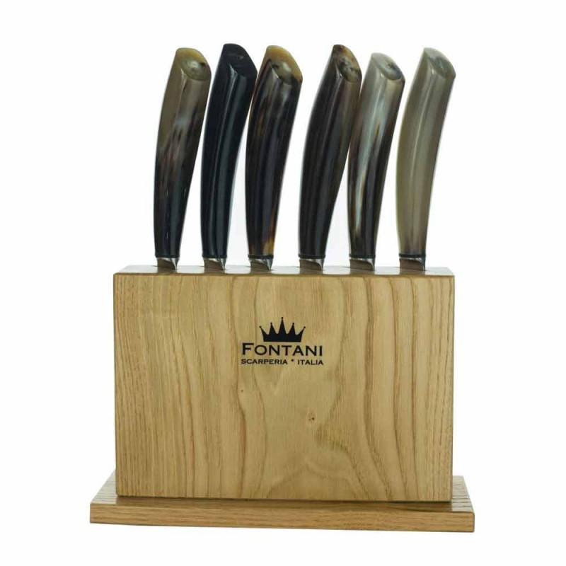 Bllok në dru ulliri me 6 thika bifteku prodhuar në Itali - Bllok