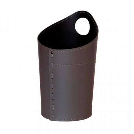 Shporta e mbeturinave të ricikluara të letrës në lëkurën e punuar me dorë Ambrogio
