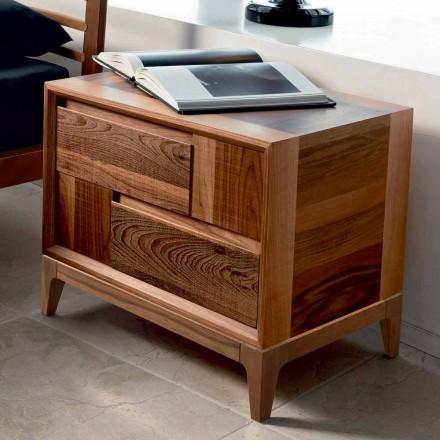 Tavolinë me dy sirtarë Nino në dru të fortë arre, dizajn modern