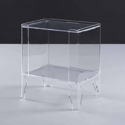 Tavolina moderne e fjetjes Marc, e bërë nga metakrilat i qartë, i trashë 8 mm