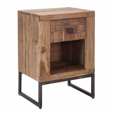 Dizenjoni tavolinën e shtratit me sirtar në dru dhe hekur akacie - Dionne