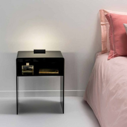 Tavolinë anësore e zezë me ndriçim LED Adelia, e bërë në Itali, dizajn modern