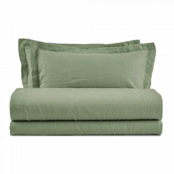 Çarçafë të pastër me ngjyra prej liri të vendosur për krevatin dopio - Pasuri
