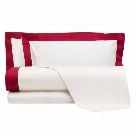 Sete fletë satenesh për krevat dopio me skajet me ngjyra - zymbyl