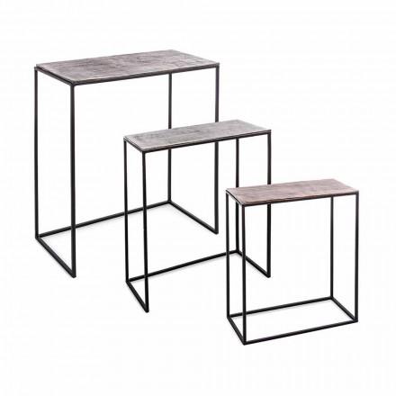 Përbërja 3 Tavolina kafeje në lëvizje alumini dhe çeliku - Salvio