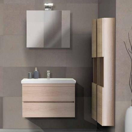 Kabineti i banjës 80 cm, Lavaman, Pasqyrë dhe 2 Kolonë - Becky