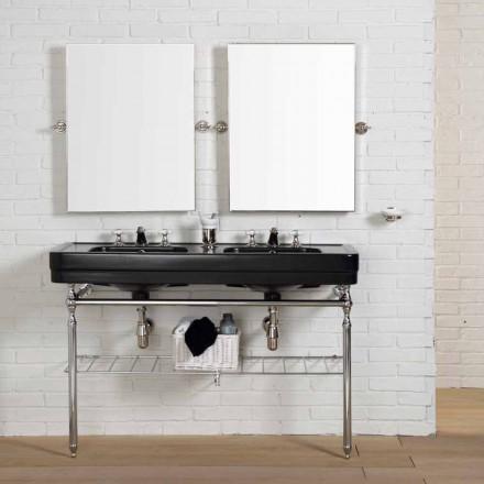 Përbërja e cilësisë së mirë për banjë me tastierë të dyfishtë të zezë në strukturën Double
