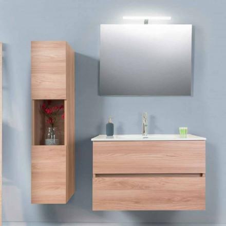 Kabineti i banjës 90 cm, Baseni i Wah, Pasqyra dhe Kolona - Becky