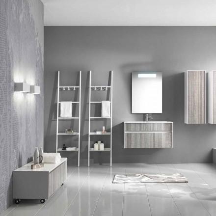 Përbërja e pezulluar e banjës Mobilje me Dizajn Modern Modern Bardhë dhe Dru - Rossana