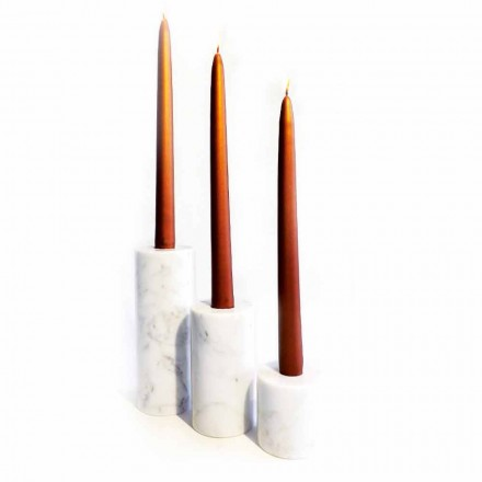 Përbërja e 3 mbajtësve të qirinjve në mermer të bardhë Carrara prodhuar në Itali - Astol