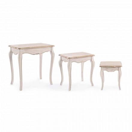 Përbërja e 3 Tryezave Klasike Druri për Kafe prej druri Homemotion - Klasik