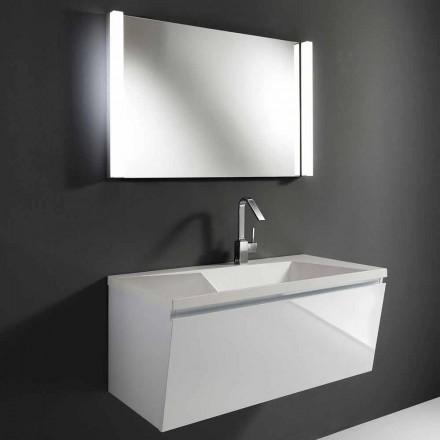 Përbërja e mobiljeve të banjës së pezulluar moderne të bardhë me pasqyrë LED - Desideria